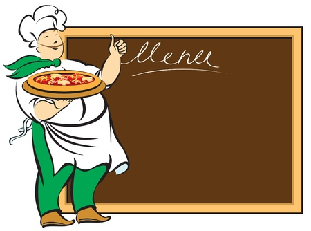 chef with menu board for  Vector