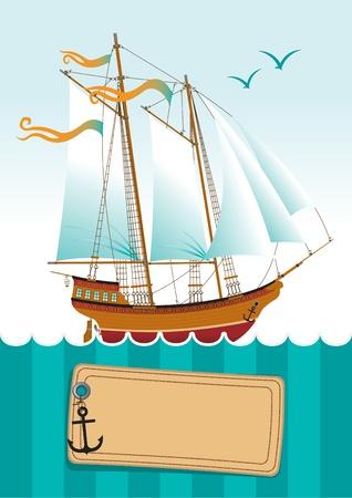 marine bird: banner con yate en el mar y el espacio para las inscripciones