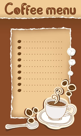 savor: coffee menu with cup and beans
