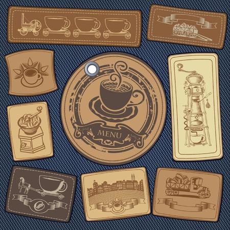 afilador: conjunto de etiquetas de caf� en el fondo de la mezclilla Vectores