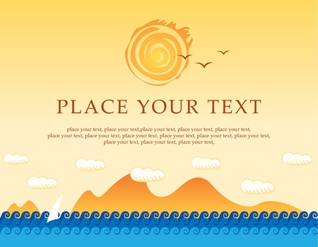 banner with sea, sun and sailing  Vector