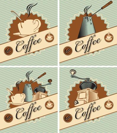 grinder: cuatro banderas sobre el tema del caf� en estilo retro