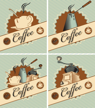 grinder: four banners on theme of coffee in retro style