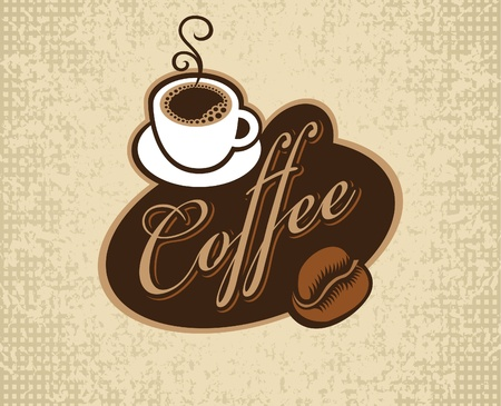 banner with inscription coffee, cup and grain  Vector