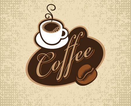 granos de cafe: pancarta con la inscripci�n de caf�, copa y el grano
