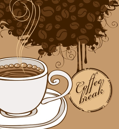 banner with cup of coffee and grains  Vector