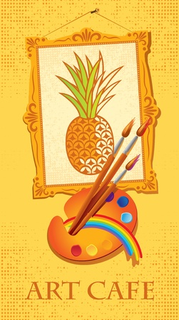 banner with picture of pineapple with brushes and palette Vector
