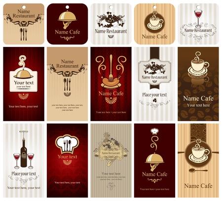serveur avec plateau: ensemble de cartes de visite sur les denr�es alimentaires et des boissons