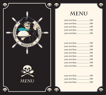 pirates flag design: pirate menu with the ship s cook  Illustration