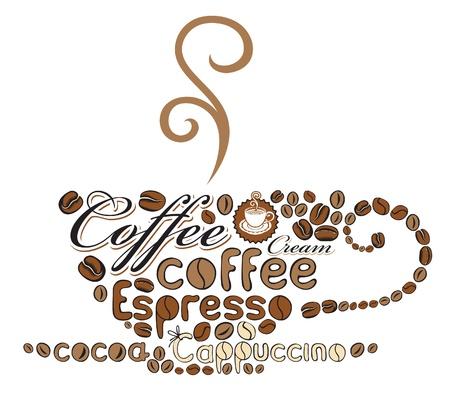 granos de cafe: taza de caf� de las palabras