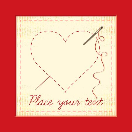 greeting card with embroidered hearts Vector