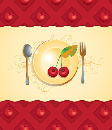 banner with plate and cherry Stock Vector - 13285134