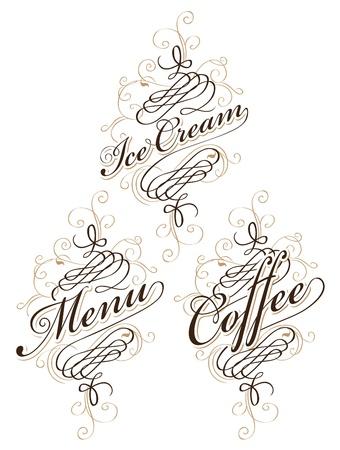 calligraphie arabe: d�finir des inscriptions calligraphiques sur le sujet de la nourriture et les boissons