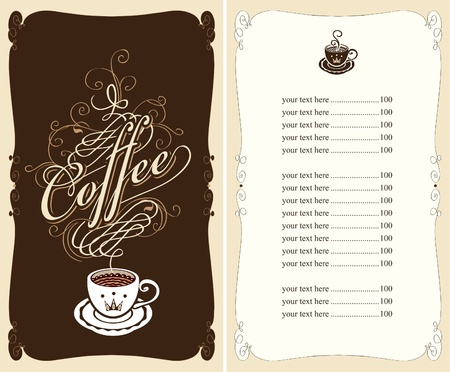 menu for a cafe on a black background Vector