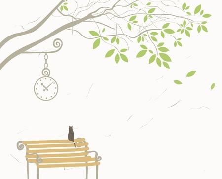 탁상: 벤치에 나무와 고양이와 풍경 일러스트