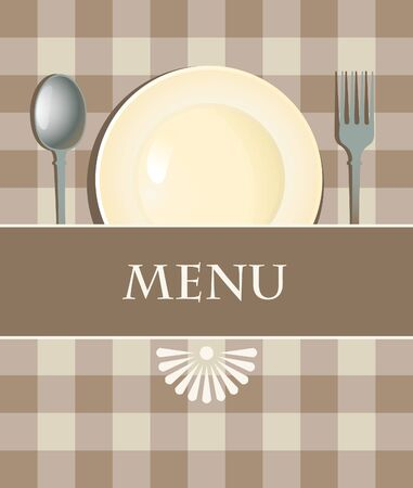 menu with cutlery on checkered background  Vector