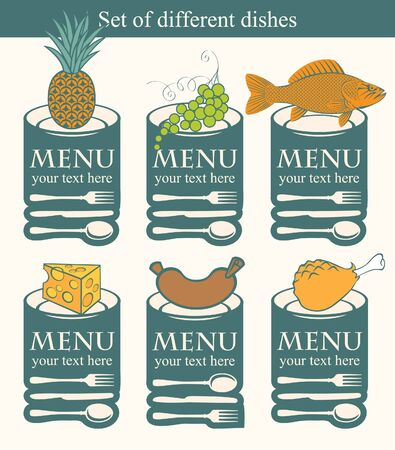 set of symbols to various dishes  Vector
