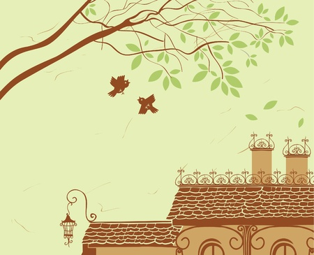 suburb: Landscape with tiled roof, tree and bird  Illustration