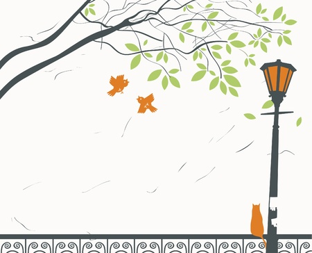 autumn scene: park landscape with lantern and cat Illustration