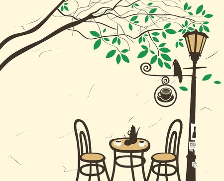 Open-air cafe under a tree with a lantern  Vector