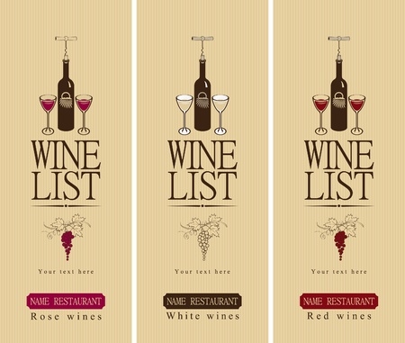 food and wine: three banners with different wine