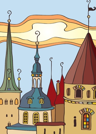 medieval banner: roof of the old town  Illustration
