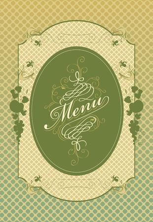 range fruit: Frame menu with floral ornaments