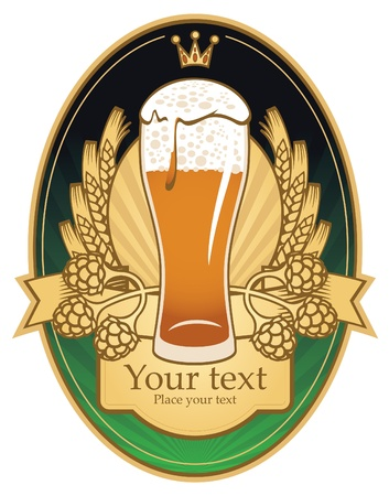 label with glass of beer Vector