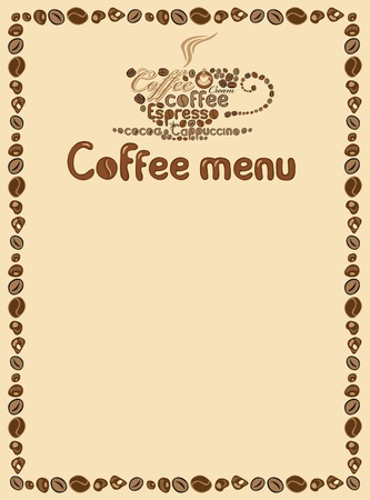 caffeine: menu for cafe with cup of coffee