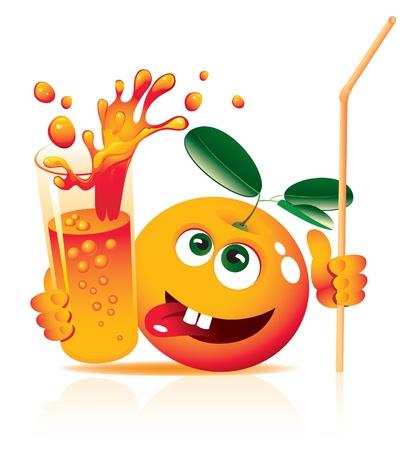 vaso de jugo: de color naranja vivo con el jugo de vidrio