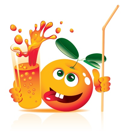 fr�chte in wasser: lebhaften Orange mit Glas Saft