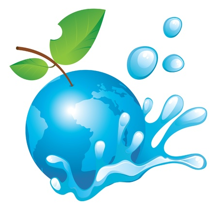 leaf water drop: Planet Earth in the spray of clean water