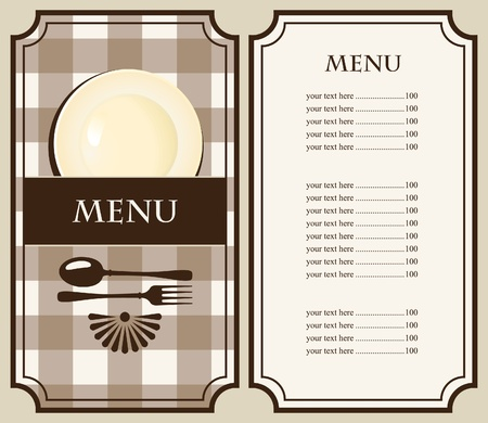 menu with plate and cutlery Vector