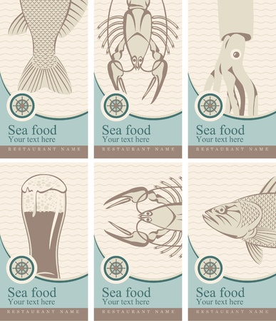 crockery: set of banners with beer and seafood  Illustration