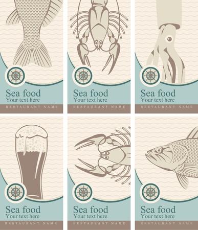pescados y mariscos: un conjunto de banderas con la cerveza y mariscos