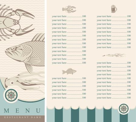 pescados y mariscos: men� con productos del mar
