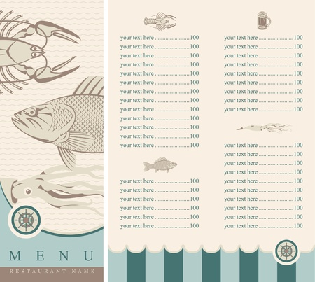 seafood background: menu with seafood  Illustration
