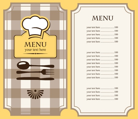 flatwares: menu with chef s hat and cutlery