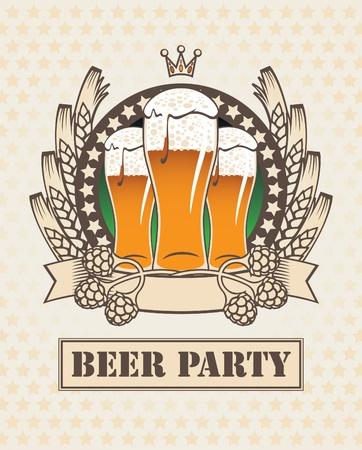 banner with three glasses of beer, malt, wheat and  Stock Vector - 13584236