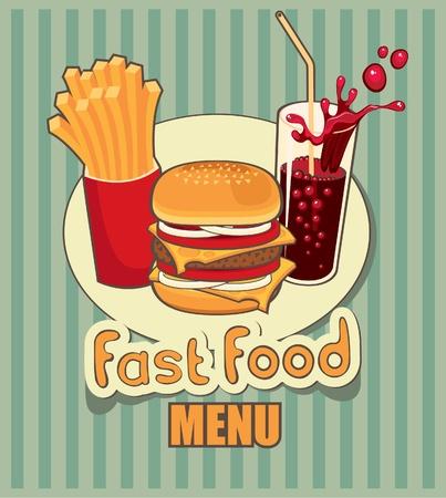 pancarta con la comida rápida con cola, hamburguesas y papas fritas
