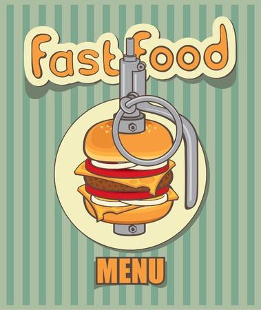 fast-food menu for burger - hand grenade Vector