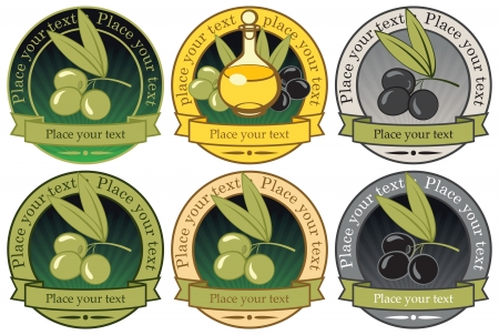 olive tree isolated: set of labels for olive oils and