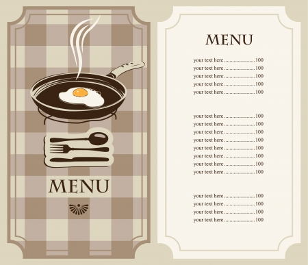 menu fried eggs in frying pan Illustration
