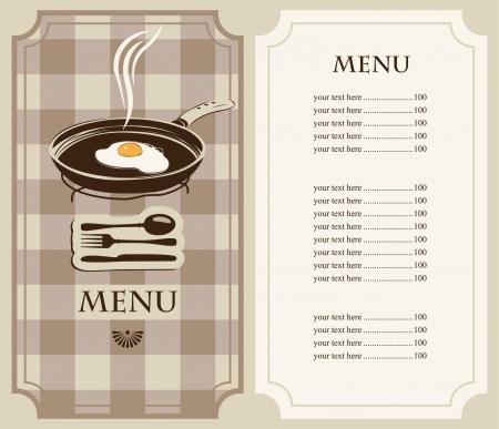 menu fried eggs in frying pan Иллюстрация