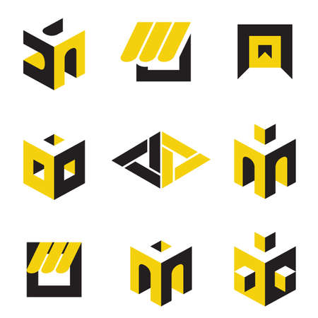 interior design: set of abstract symbols on construction topics  Illustration