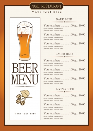 lager beer: Menu list for beer