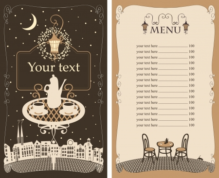 menu for the night cafe with table under lamp  Vector