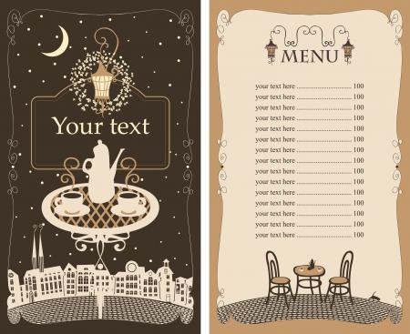 vintage cafe: menu per il caff� notturno con tavolo sotto la lampada