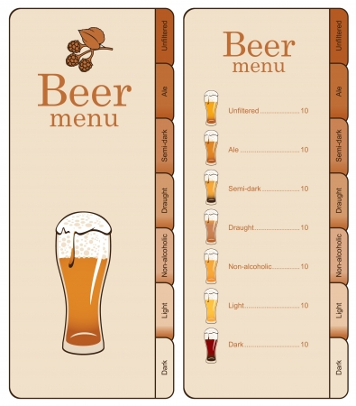 internet cafe: Banner with different types of beer Illustration