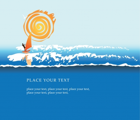 banner with sea, sun and surfer Vector